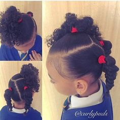 Each of these hair-styles will be fairly straight forward are a great option for novices, fast and simple toddler hair-styles. Lil Girl Hairstyles, Girls Natural Hairstyles, Natural Hairstyles For Kids, Kids Braided Hairstyles, Girl Haircuts, Diy Hairstyles, Black Hairstyles, Teenage Hairstyles, Toddler Hairstyles