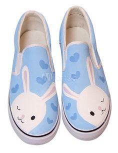 Cute Blue Rabbit Canvas Rubber Sole Painted Shoes - Milanoo.com