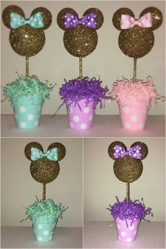Pink and Gold Glitter Minnie Mouse inspired Centerpiece by AmyJays