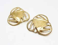 Fall Sale - Marked Down 20% ! #GiftIdeas Pre Holiday Sale !!! Abstract Goldtone Earrings - Designer Signed Les Bernard Matte Gold Pierced Studs - #Vintage offered by TheJewelSeeker  Style: Abstract Modern Pierced E... #vintage #jewelry #teamlove #etsyretwt #ecochic #thejewelseeker