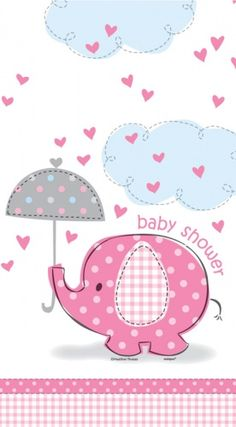 Pink Elephant Baby Shower Plastic Tablecloth