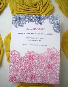 graphic flower save the date