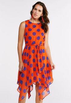3dc53a7b6c5 Polka Dot Asymmetrical Belted Dress Dresses Cato Fashions Plus Size Fashion,  Belted Dress, Summer