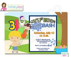 Splash Party Birthday Invitations 661  12 Printed by LullabyLoo, $18.00 #toy story #splash #water #boys #birthday #party #invitations Boy Birthday Invitations, Birthday Bash, Party Invitations, Splash Party, Party Planning, Rsvp, Toy Story, Boys, Prints
