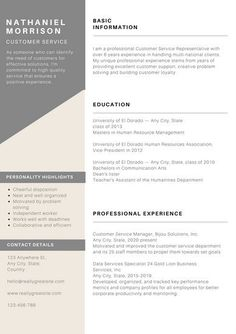 customer service resumes Grey Minimal Customer Service Resume - Templates by Canva Modern Resume Template, Creative Resume Templates, Cv Template, Resume Format, Sample Resume, Customer Service Resume, Engineering Resume, Portfolio Resume, Perfect Resume