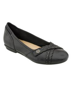 This Earth Black Monarch Leather Ballet Flats by Earth is perfect! #zulilyfinds