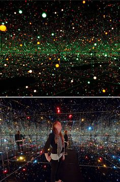 Fireflies in the Water installation by Yayoi Kusama. With its carefully constructed environment of lights, mirrors, and water—it creates a space in which individual viewers are invited to transcend their sense of self.