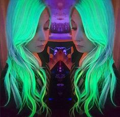 Glow-in-the-dark hair is a new trend that will literally light up your life (and your locks). From vibrant rainbow manes to strands glowing in various neon Salon Party, Glow Hair, Wacky Hair, Galaxy Hair, Pulp, Fantasy Hair, Body Wave Hair, Unicorn Hair, Crazy Colour