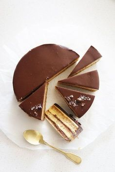 Hazelnut Opera Cake chocolate custard layer