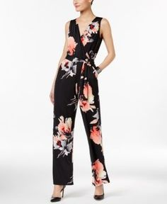 Ny Collection Petite Belted Floral-Print Wide-Leg Jumpsuit - Black P/XS