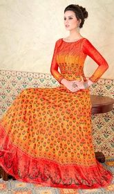 Plush Mustard Yellow and Coral Orange Gown Orange Gown, Coral Orange, Mustard Yellow, Cotton Anarkali, Long Anarkali, Bollywood Suits, Bollywood Fashion, Anarkali Suits Online Shopping, Orange Party