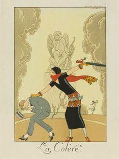George Barbier (1882-1932) - French Art Deco Fashion Illustrator - La Colère