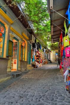 Too beautiful. Love the bright colors and the curtain of greenery. (Molyvos, Greece)