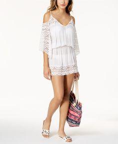 5969eb1eb53e Raviya Lace-Insert Cold-Shoulder Dress Cover-Up & Reviews - Swimwear -  Women - Macy's