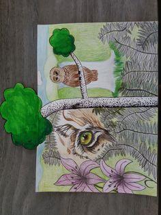 Dit is het eind resultaat. Ik vond het leuk om deze opdracht te doen, en er aan te werken. Maar omdat deze opdracht zo vrij was vond ik het moeilijk om dingen te bedenken. Maar uiteindelijk vind ik dat ik op een mooi eindwerk ben gekomen. Ik ben begonnen met alleen een tijger oog en heb daar uit deze hele tekening gemaakt. Tatum Oosterlaken 2Td 05-06-16