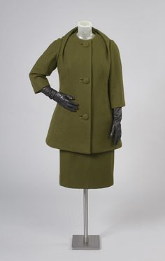 Philadelphia Museum of Art - Collections Object : Woman's Walking Suit: Tunic Top, Skirt, and Jacket 1959, olive wool twill- Pauline Trigere