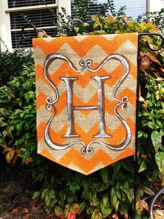Fall Thanksgiving Initial Painted Outdoor Burlap Garden Flag.