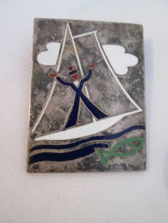 Art Deco Paris Drago Silver & Enamel Sailor Boat Yacht Fish Brooch