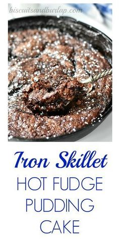 Iron Skillet Hot Fudge Pudding Cake uses ingredients already in your kitchen. From Biscuitsandburlap.com