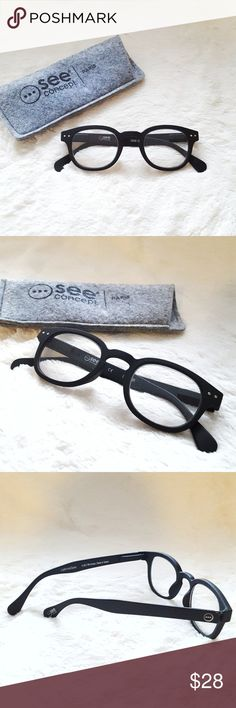 """Let Me See Collection Reading Glasses Black Matte This line of chic ready-to-wear eyeglasses satisfies the need for fashionable readers. Stylish spectacle flatters all face shapes, have velvety, soft-touch finishes, and have flex hinges for a universally snug and comfortable fit. Comes with a felt pouch and case. Minor lense scratches, nothing major.  Dioptre strengths: +1.5 Pupillary Distance: 61mm Size: 7l x 3.3w x 1.4""""h MaterialsPlastic, Polycarbonate Lenses  Last 3 photos are stock…"""