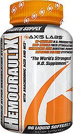 Axis Labs HemodrauliX - The first nitric oxide formula that upregulates the nitric oxide producing enzyme Nitric Oxide Synthase (NOS) producing even bigger pumps, more strength and deeper muscle stimulation!