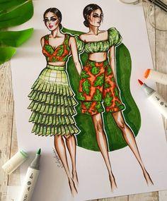 973 отметок «Нравится», 27 комментариев — Sveta Leyfman fashion artist (@svetaleyfman) в Instagram: «Summer mood 🧡💚 ............................................................................ Design…» Fashion Drawing Dresses, Fashion Illustration Dresses, Dress Illustration, Dress Design Sketches, Fashion Design Sketchbook, Fashion Design Drawings, Fashion Model Sketch, Fashion Sketches, Fashion Figures