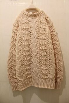Bobble, lace and cabled pullover Knitwear Fashion, Knit Fashion, Knitted Poncho, Knitted Hats, Yarn Inspiration, Textiles, Knitting Designs, Couture, Lana