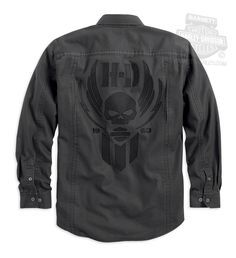Harley-Davidson® Mens Willie G Skull with Wings Washed Black Long Sleeve Woven Shirt