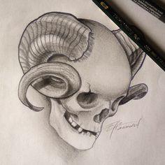 Another cool skull project #tattoo #tatouage #tatuaje #blackandgrey #realistic #ram #skull #horn #skull #crane #cranio #calavera #corne #belier #metal #rock #punk #dessin #draw #drawing #sketch #ink