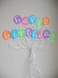 Balloon Happy Birthday Banner - Ready to Ship TODAY. $12.00, via Etsy.