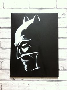 Stencil painting of Batman. White paint on a black background a powerful combination. Canvas is 12 inches by 16 inches. Batman Painting, Batman Artwork, Diy Painting, Painting & Drawing, Stencil Art, Rock Art, Art Lessons, Decoupage, Art Drawings