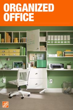 The Home Depot has everything you need for your home improvement projects. Click through to learn more about our storage and organization offerings. Home Office Storage, Craft Room Storage, Home Office Organization, Home Office Space, Home Office Design, Home Office Decor, Organized Office, Office Ideas, Home Depot