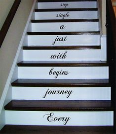 Different text, verse, etc Every Journey Stairs Decor Decal Sticker Wall Vinyl Art - boop decals - vinyl decal - vinyl sticker - decals - stickers - wall decal - vinyl stickers - vinyl decals Wall Decal Sticker, Vinyl Wall Decals, Wall Stickers, Vinyl Art, Affordable Home Decor, Easy Home Decor, Cheap Home Decor, Stair Quotes, Wall Quotes