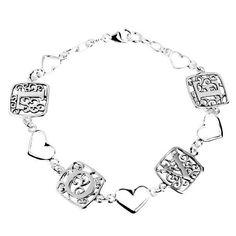 "Sterling Silver ""L O V E"" Filigree Link with Hearts Bracelet, 8"" Amazon Curated Collection. $26.00. Save 48% Off!"