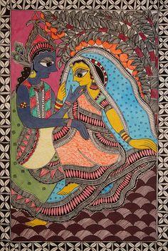 Mithila painting from India. Art Painting, Indian Art Paintings, Mural Painting, Tribal Art, Madhubani Art, Mandala Design Art, Painting, Amazing Art Painting, Kalamkari Painting