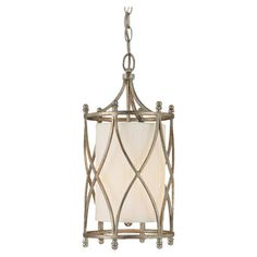 Featuring a winter gold finish and openwork overlay, this glamorous pendant casts a warm glow in your foyer or dining room.   Product: