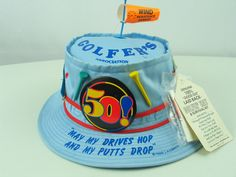 Laid Back Golfer s Association Hat vintage 1989 Original tags included  Light Blue 100% Cotton Bucket Hat Gag gift Father Day Men s Birthday 79f09a4ff00