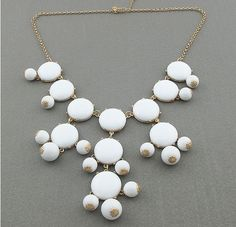 This trendy and fun accessory will make any outfit pop. Get this Bubble Statement Fashion Necklace in Pure White on GroupingMall for an incredible deal! Boho Jewelry, Jewelry Accessories, Trendy Jewelry, Jewelry Box, Fashion Necklace, Fashion Jewelry, White Statement Necklaces, Chunky Necklaces, Bubble Necklaces