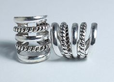 2 X Sterling Silver Dreadlock 5 coil cuff charm by Dreadscapes