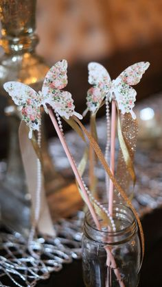 love love love these gorgeous butterfly wands! Would be beautiful for a garden tea party! Butterfly Princess Wands/Garden Tea Party by SimplyConfettiShop