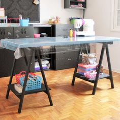 Craft table for sewing room, easy, inexpensive and pretty.