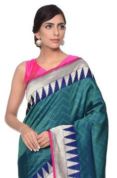 Teal Temple border tanchoi Saree with chevron weave