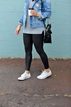 Outfits with leggings - 45 stylish summer outfits to wear with converse for women 08 ~ Litledress Legging Outfits, Adidas Leggings Outfit, Jean Jacket Outfits, How To Wear Leggings, Leggings Sale, Cheap Leggings, Outfits With Leather Leggings, Leggings Fashion, Leggings Outfit Summer Casual