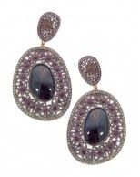 NEW 14K White Gold and Oxidized Silver Onyx, Ruby and Diamond Asymetric Drop Pierced Earrings