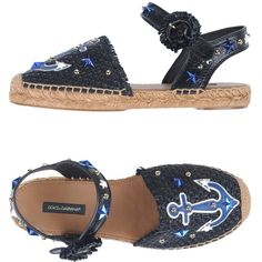 Dolce & Gabbana Espadrilles (565 AUD) ❤ liked on Polyvore featuring shoes, sandals, black, black leather espadrilles, black sandals, black espadrilles, black flat shoes and studded flat sandals