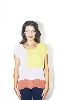 #DIESSE #SpringSummer2016 #shirt-Short blouse, round neck, short sleeves, color block overlap #model #StellaScorzo #photographer #MariannaDepasquale #designer #DiegoSalerno  http://www.diessefashion.it/