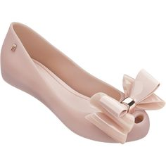 Melissa Ultragirl Triple Bow Blush ($86) ❤ liked on Polyvore featuring shoes, melissa shoes, melissa footwear, hidden wedge shoes, bow shoes and rose gold shoes