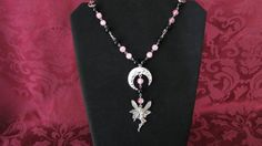 Black and Pink Rosary with Hammered Silver Moon by PirateKatsBooty, $25.00