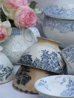 Blue & White Porcelain Tea Pot w/ Fresh Flowers, Cafe au Lait Bowls, Soup Tureen