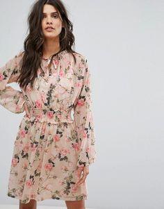River Island Floral Tie Front Tea Dress